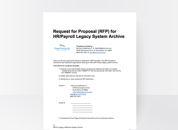 Payroll System RFP | Legacy HR RFP | Harmony Healthcare IT